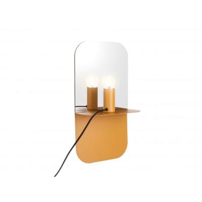 Wandlampenplatte mit Spiegel | Gelb