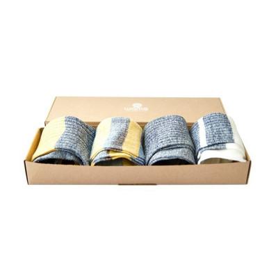 Unisex-Socken 4er-Set   Geschenkkarton aus gestreiftem Leinen