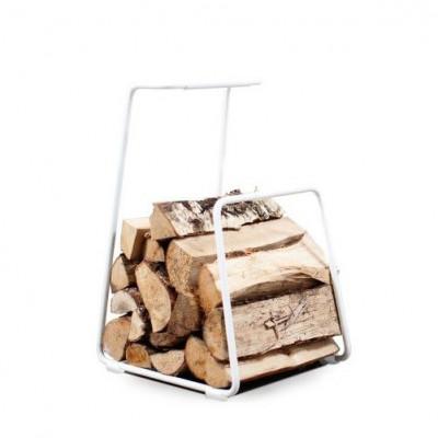 Log Wood Basket | White