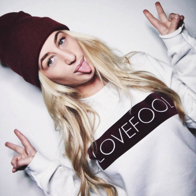 Lovefool Women's Sweater | White with Burgundy Label