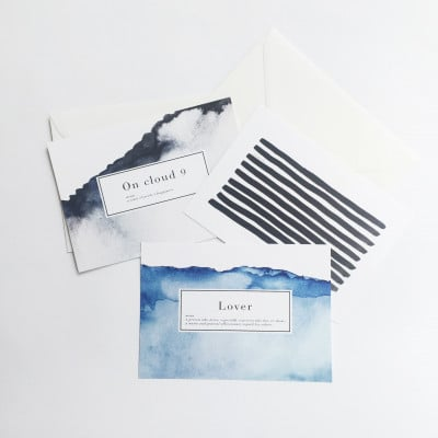 Set of 3 Postcards   Lover - Read - Cloud