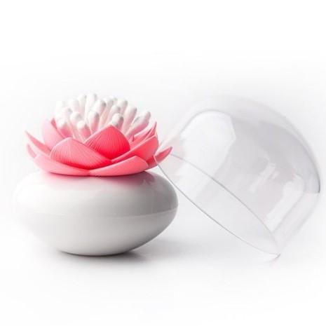 Wattestäbchenhalter Lotus | Weiß & Rosa