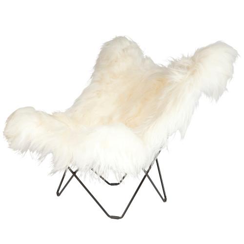 Schmetterling-Stuhl Isländisches Schaffell | Lang Weiß / Schwarzes Stahlgestell