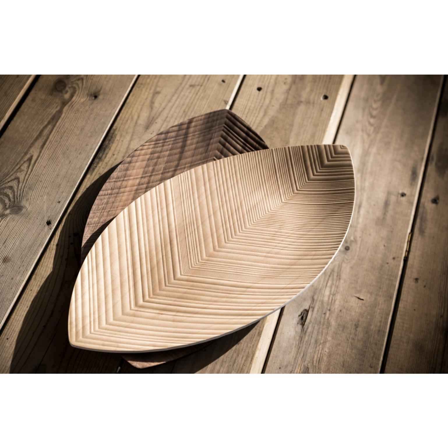 Serviertablett-Blatt   Dunkles Holz