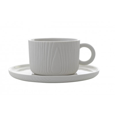 Kaffeetasse mit Untersetzer MU | Weiß