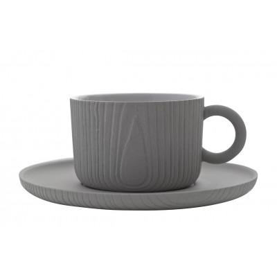 Kaffeetasse mit Untersetzer MU | Grau