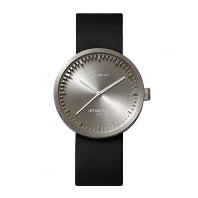 Uhr Tube D | Stahl + schwarzes Lederband