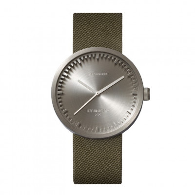 Uhr Tube D | Stahl + grünes Lederarmband