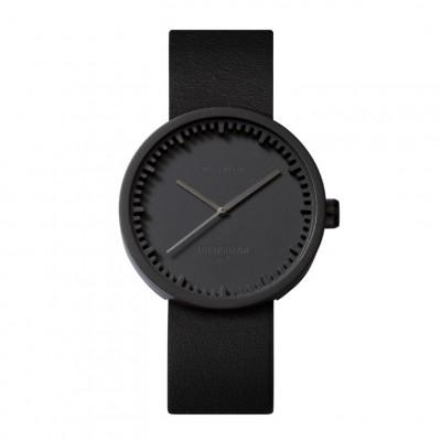 Uhr Tube D | Schwarz + schwarzes Lederarmband