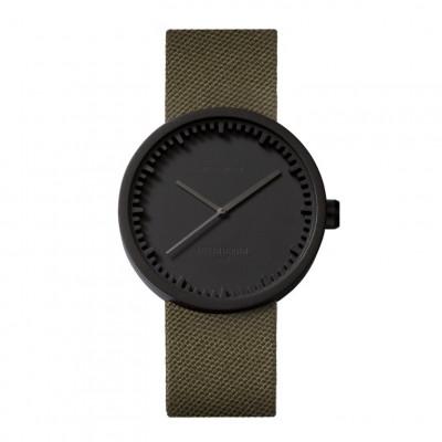 Uhr Tube D | Schwarzes + grünes Lederband