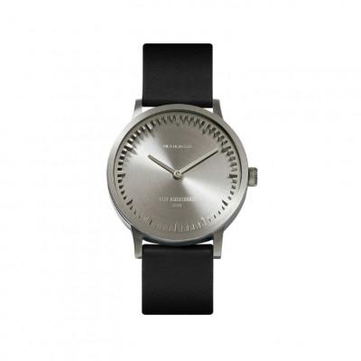 Uhr Tube T | Stahl + schwarzes Lederarmband
