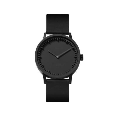 Uhr Tube T | Schwarz + schwarzes Lederband