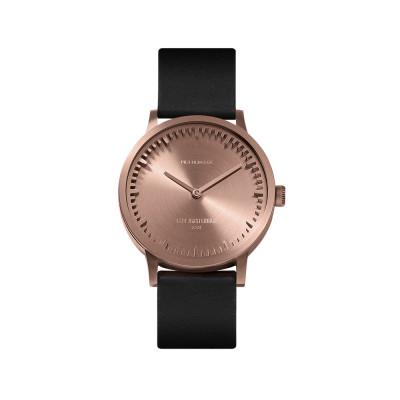 Uhr Tube T | Roségold + schwarzes Lederarmband