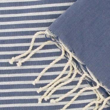 Lurex Strand Fouta | Jeansblauw & Zilver
