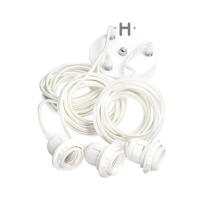 Hang Power Cord for Pendant Light White   3 Cables