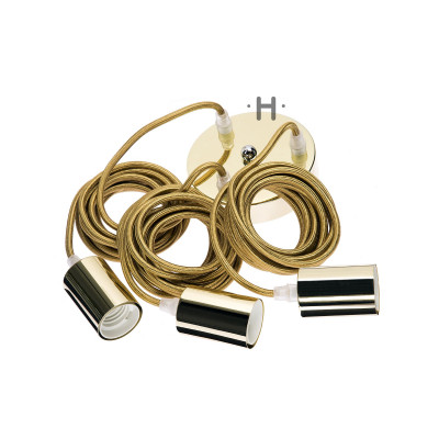 Hang Power Cord for Pendant Light Brass   3 Cables
