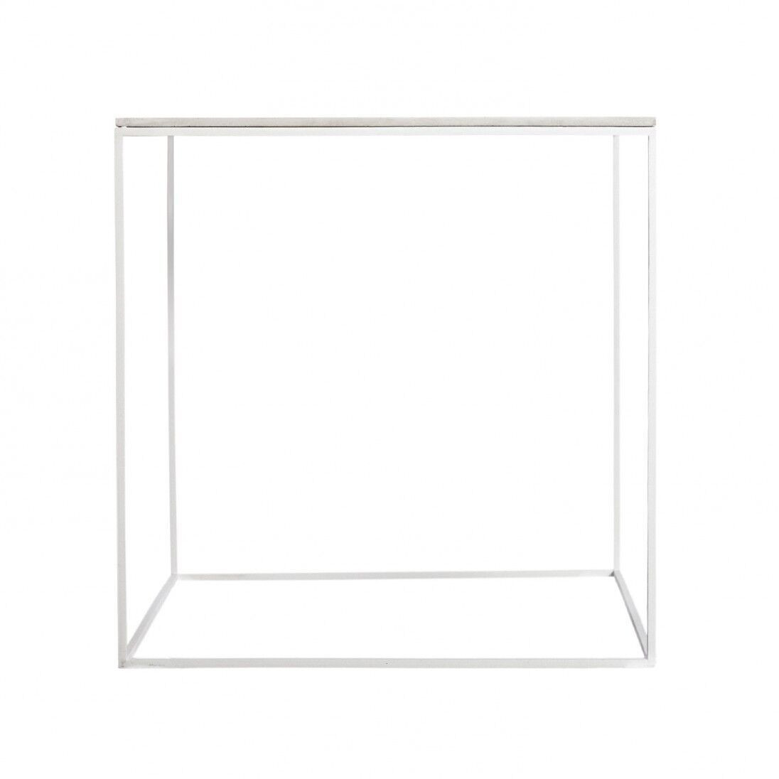 MoonSquare Side Table | White Steel Frame / White Table Top