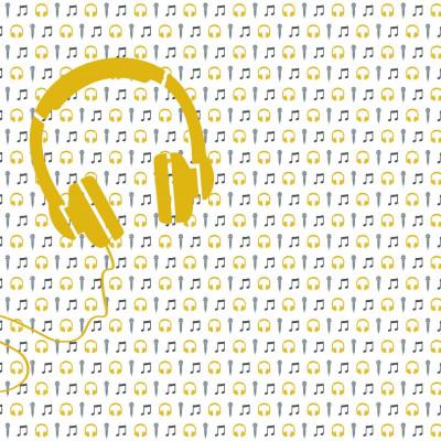 Wallpaper Music with Mic and Headphone | Yellow White