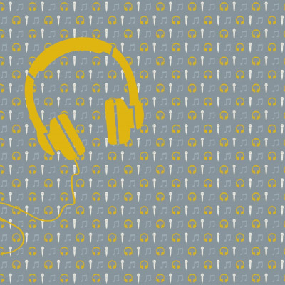Wallpaper Music with Mic and Headphone | Yellow Grey