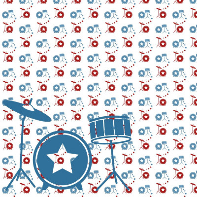 Wallpaper Music with Drum | Red Blue