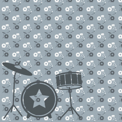Wallpaper Music with Drum | Grey