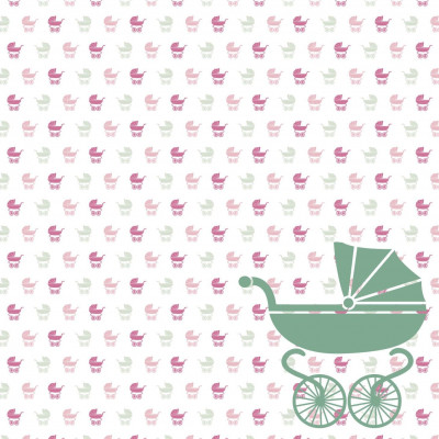 Wallpaper Baby Buggy | Green Pink