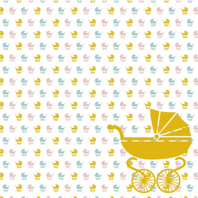 Wallpaper Baby Buggy | Yellow Pink