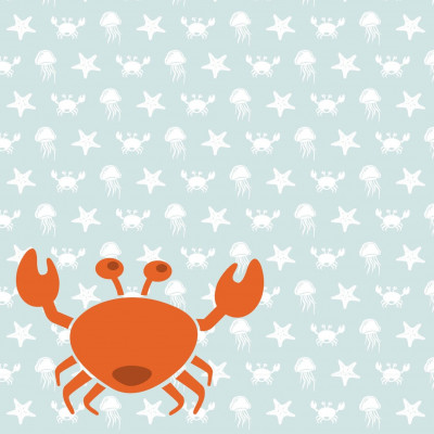 Wallpaper Sea Animals with Crab | Blue