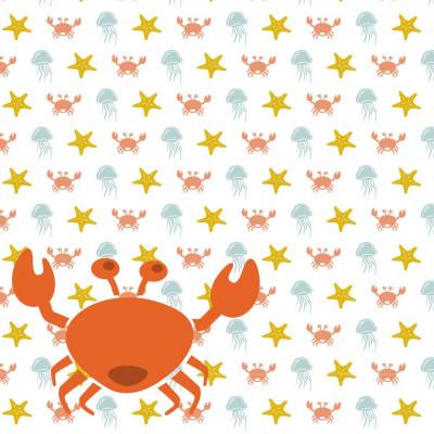 Wallpaper Sea Animals with Crab | Orange Yellow