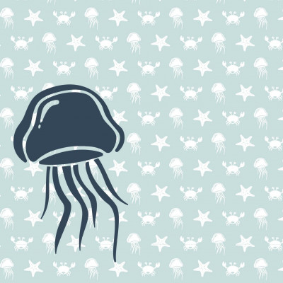 Wallpaper Sea Animals with Jellyfish | Blue