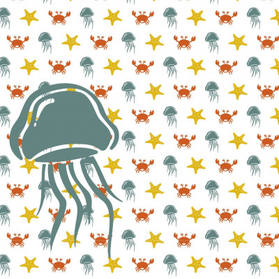 Wallpaper Sea Animals with Jellyfish | Yellow Green