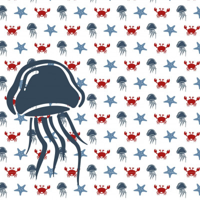 Wallpaper Sea Animals with Jellyfish | Red Blue