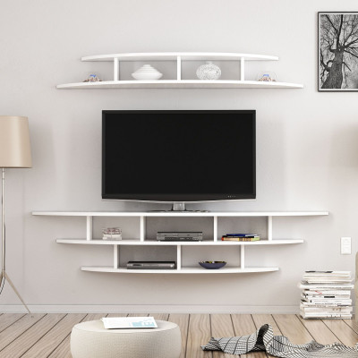 Wall TV Stand with Open Compartments