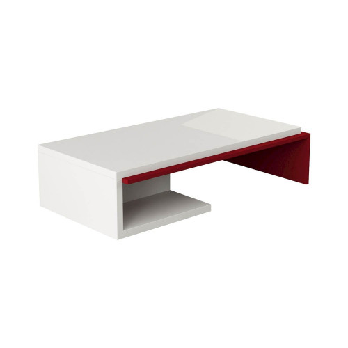 Bend Coffee Table | White / Burgundy