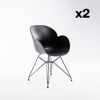 2-er Set Stühle Malaga   Schwarz