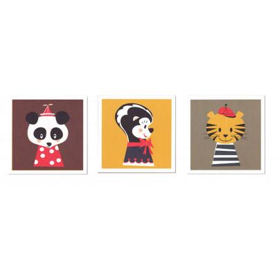 Satz von 3 Marionetten-Grußkarten
