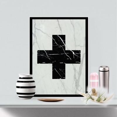 Real Marble Cross Art Piece