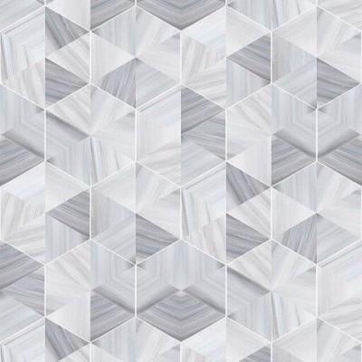 Tapete Marmor Sechseck | Silbergrau