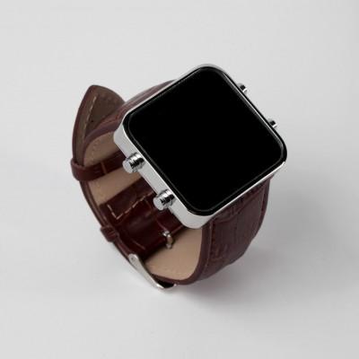Digital Watch | Silver, Brown Leather Bracelet