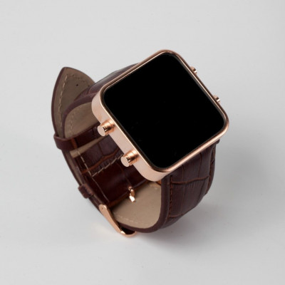 Digital Watch | Rose Gold, Brown Leather Bracelet