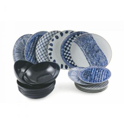 Essgeschirr Massai Set mit 18   Blau