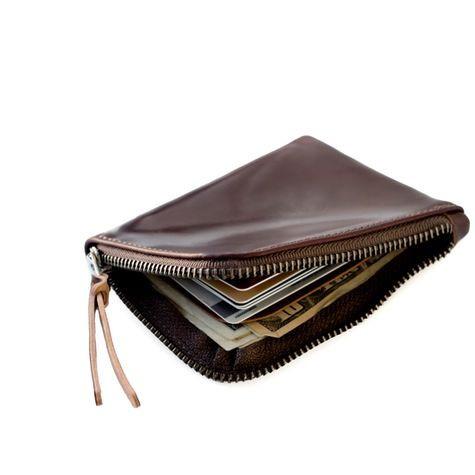 Cordovan Zip Slim Wallet   Ox Blood Horween Shell Cordovan Leather