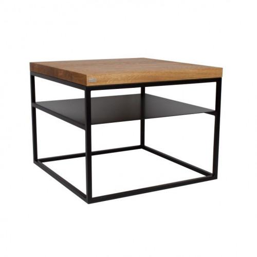 Malmo Side Table With Shelf | Oak + Black Base