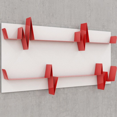 Battikuore-Regale Groß Weiß/Rot - 2 Regale