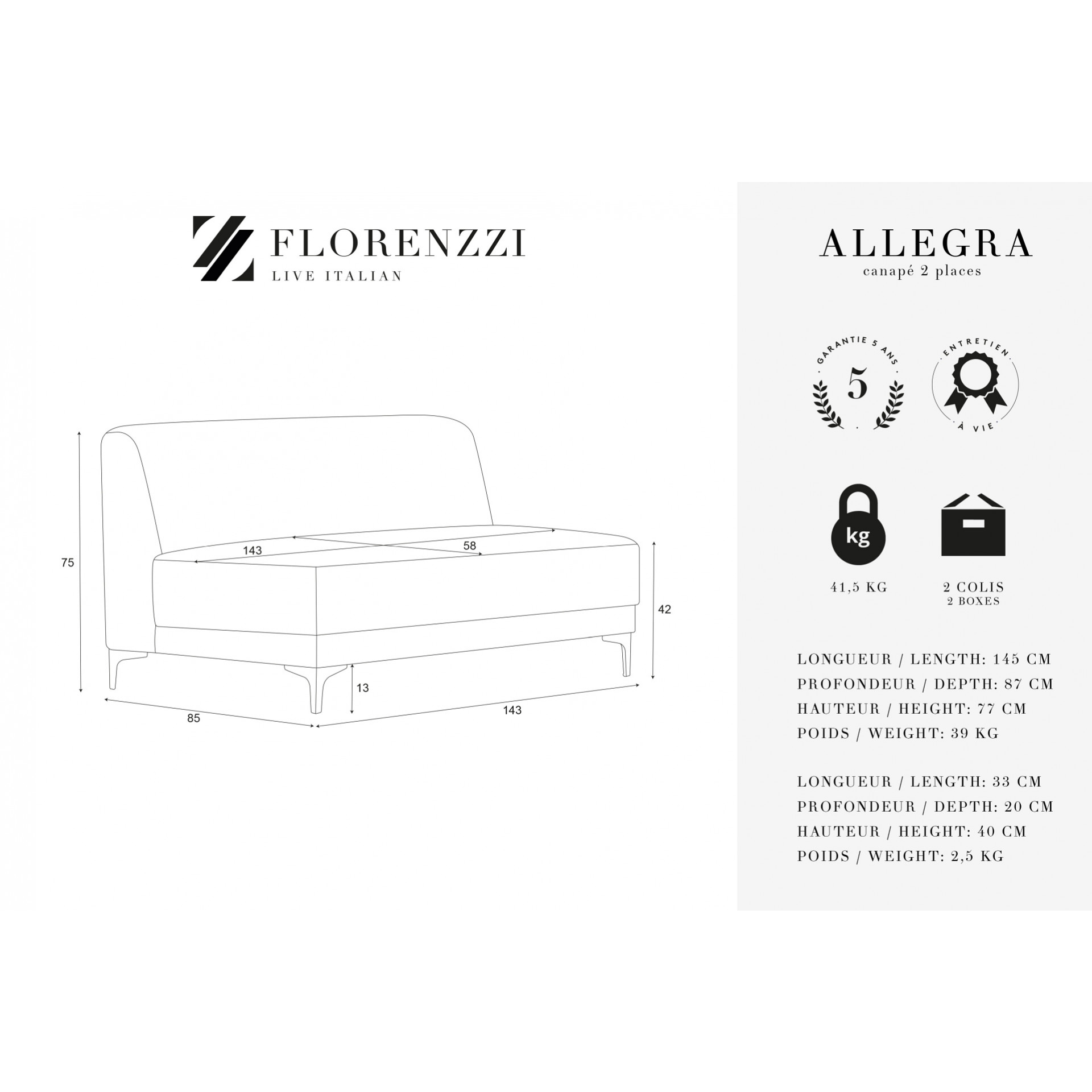 2-Sitzer-Sofa Allegra   Grau