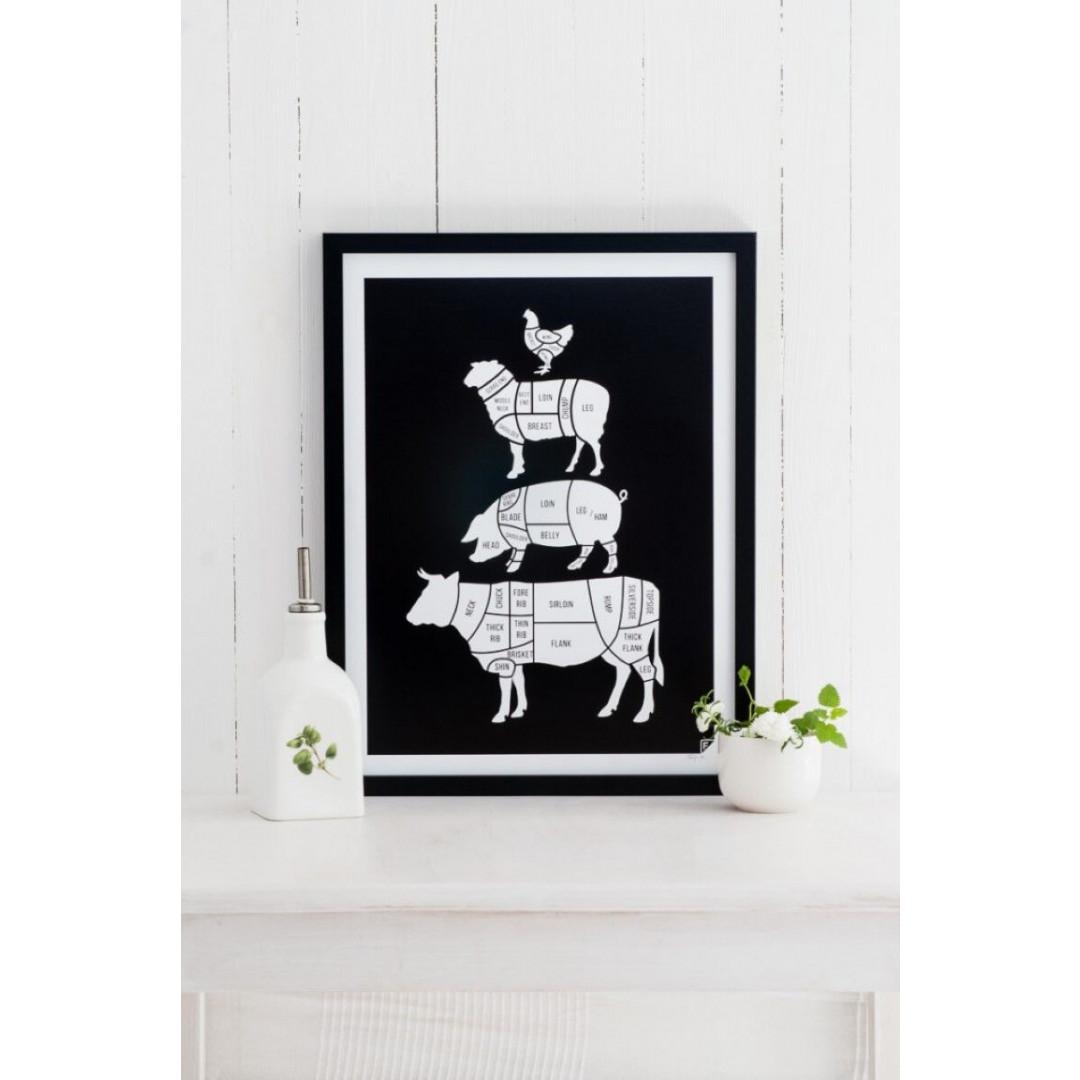 Poster Fleischstücke   Schwarz