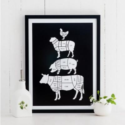 Poster Fleischstücke | Schwarz
