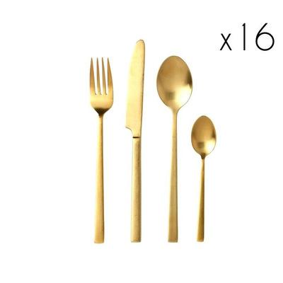 Cutlery 16 Pcs.   Brass Satin Finish