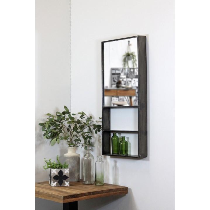 Mirror with Shelf Meridian   Metal Natural
