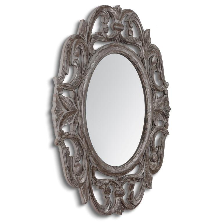 Carved Mirror Alba   Grey